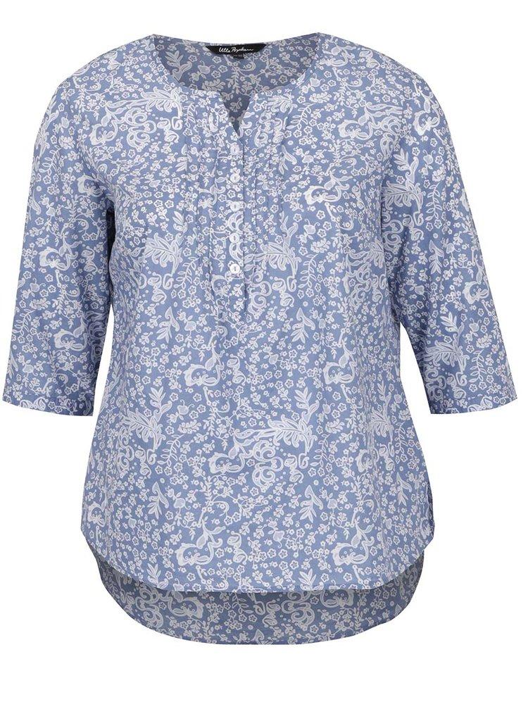 Bluză albastru & alb Ulla Popken cu model floral