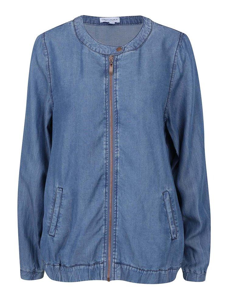 Jachetă bomber albastră Gina Laura cu aspect din denim