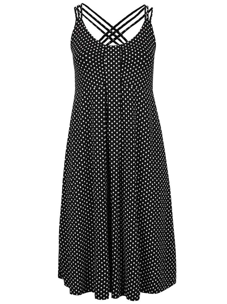 Černé puntíkované šaty s překříženými ramínky na zádech Ulla Popken