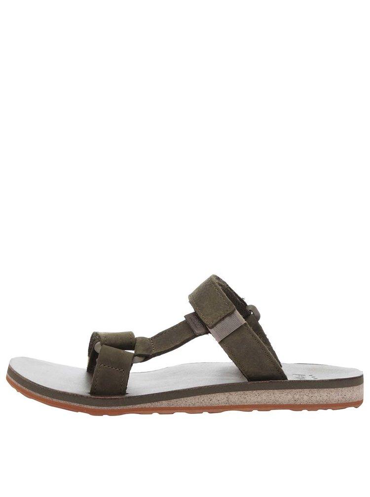 Papuci flip-flop kaki Teva din piele