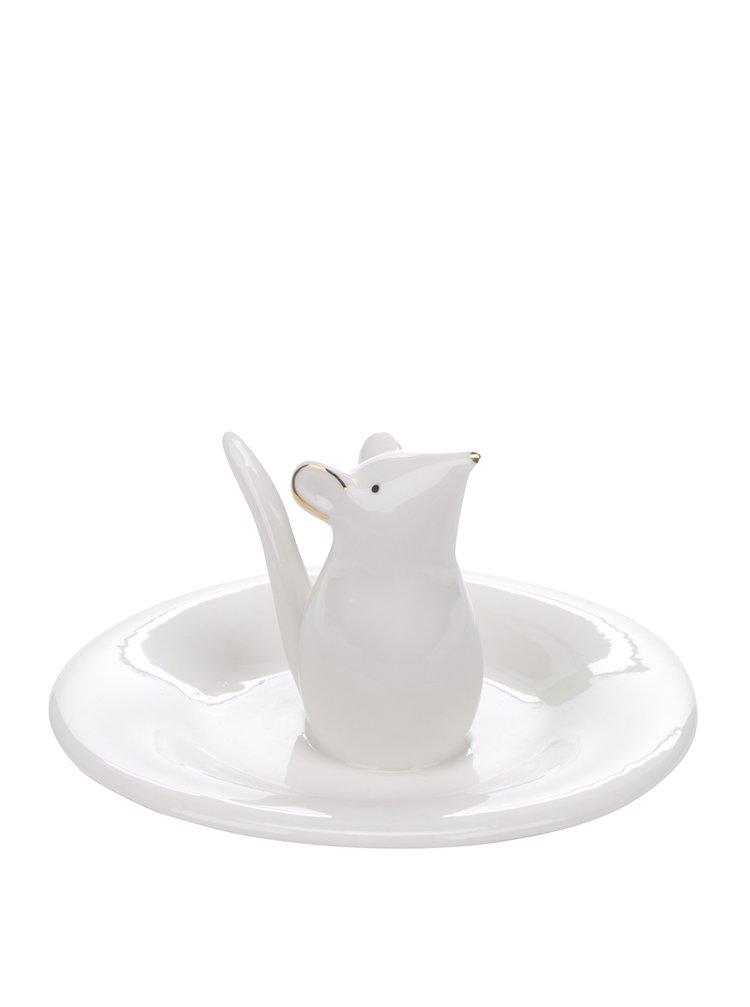 Bílý talířek na šperky s myší Sass & Belle