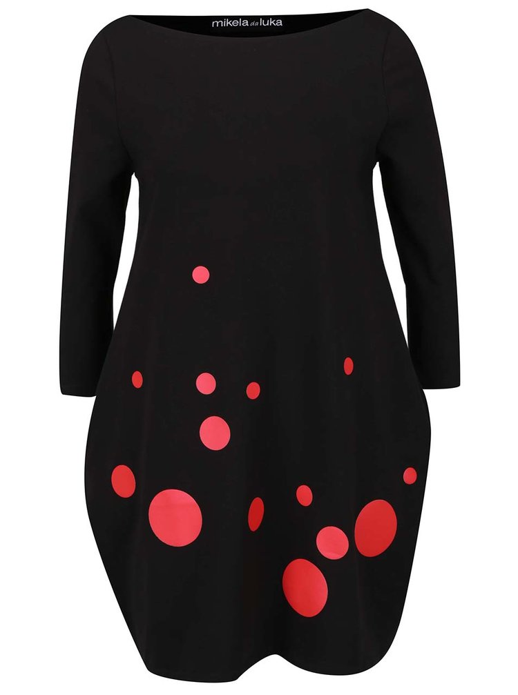 Červeno-černé šaty s lodičkovým výstřihem Mikela da Luka