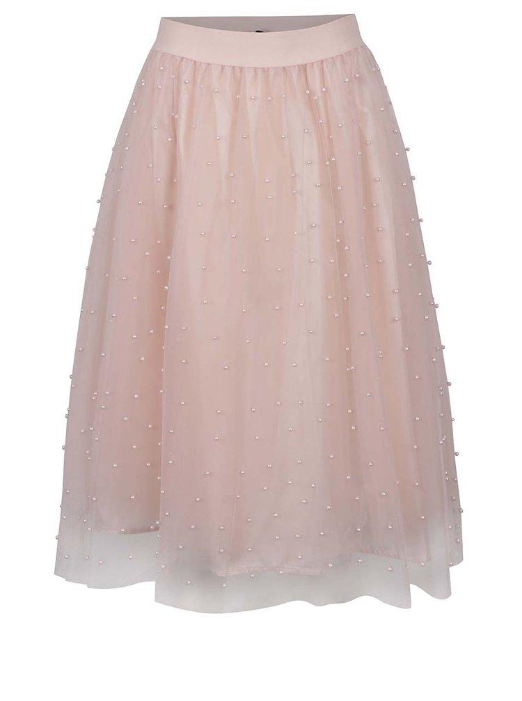 Fustă roz deschis din tulle Little Mistress cu mărgele aplicate