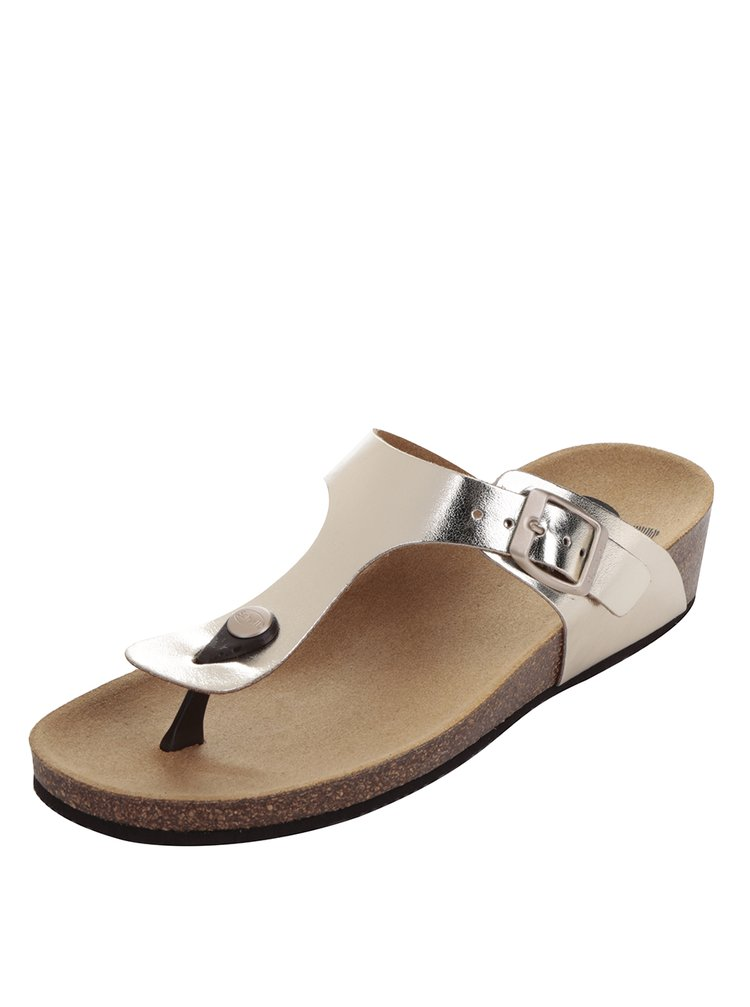 Papuci flip-flop auriu & argintiu Scholl Gandia