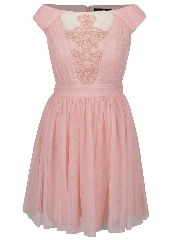 Růžové tylové šaty s krajkovou aplikací v dekoltu Little Mistress
