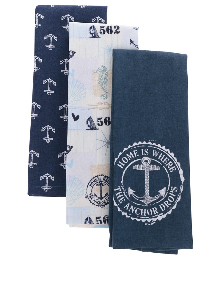 Sada tří utěrek v modré a béžové barvě s námořnickým motivem Cooksmart