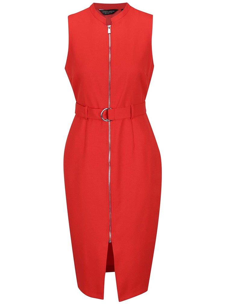 Červené šaty se zipem Dorothy Perkins