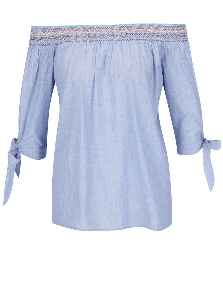 Modrá halenka s odhalenými rameny a výšivkou Dorothy Perkins