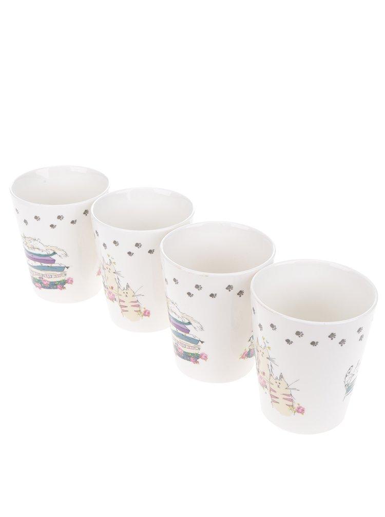 Set cu 4 căni albe din porțelan Cooksmart cu print grafic