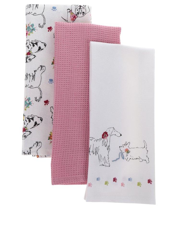 Sada tří utěrek v krémové a růžové barvě s motivem psů Cooksmart