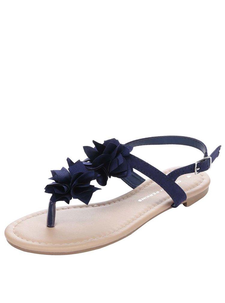 Sandale albastru închis Dorothy Perkins cu aplicații florale