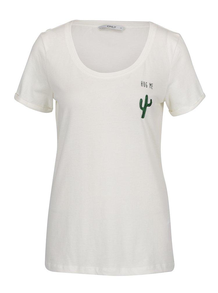 Krémové tričko s výšivkou kaktusu ONLY Tes
