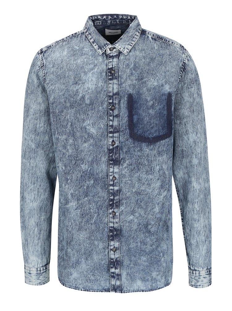 Modrá žíhaná džínová košile ONLY & SONS Denim