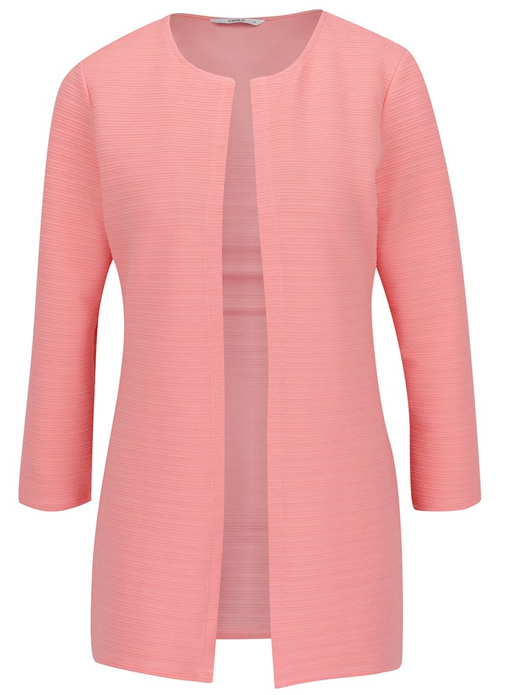 Cardigan roz piersica ONLY Leco cu model cu striatii