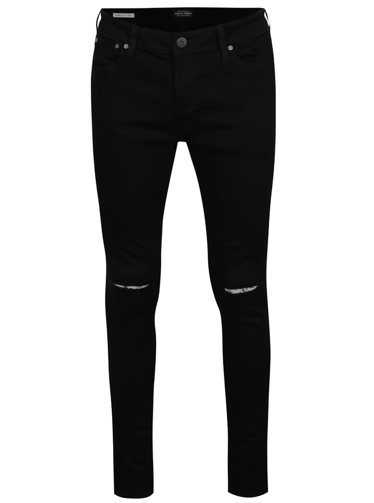 Černé džíny s dírami na kolenou Jack & Jones Liam