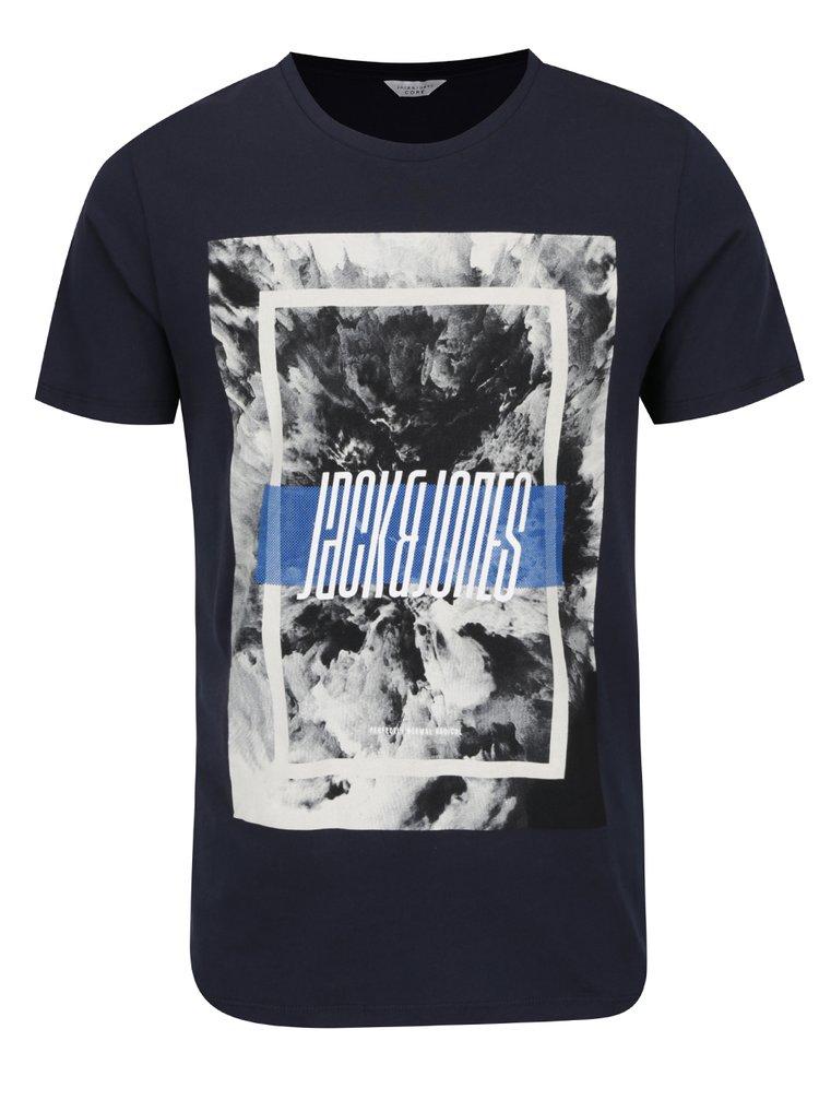 Tmavě modré triko s potiskem Jack & Jones Mango