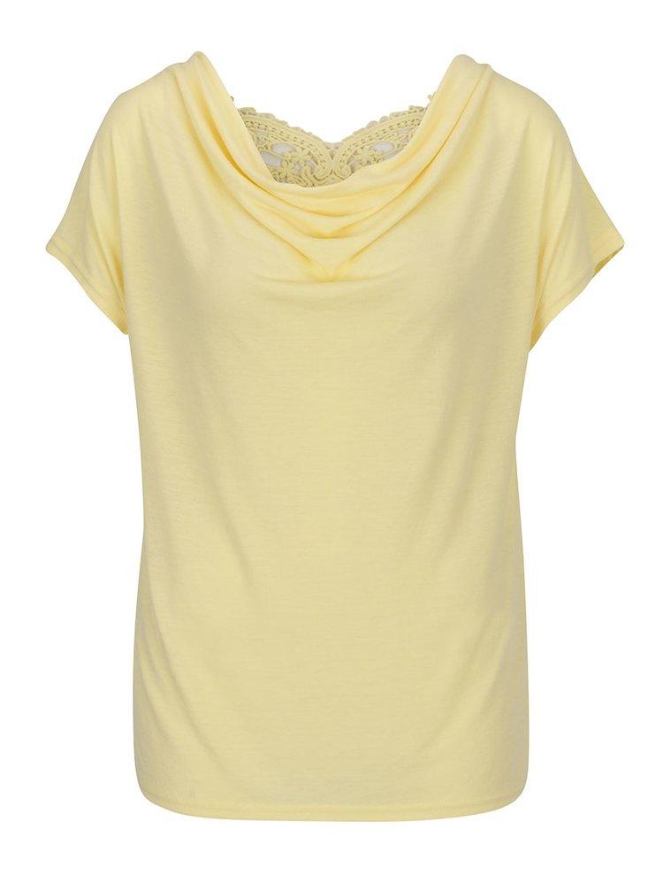 Tricou galben ONLY MIffy cu dantelă spartă pe partea din spate