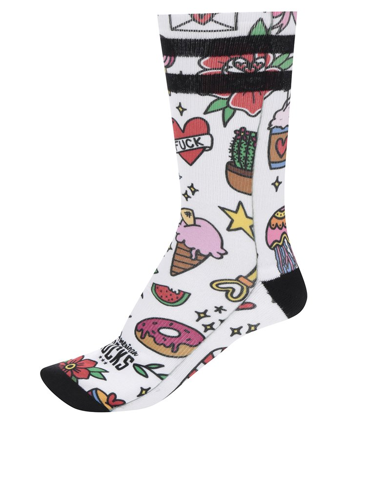 Șosete albe American Socks cu desene