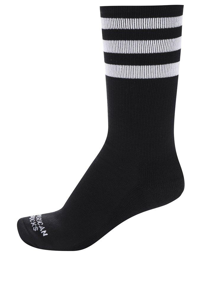 Șosete unisex negre cu dungi albe American Socks