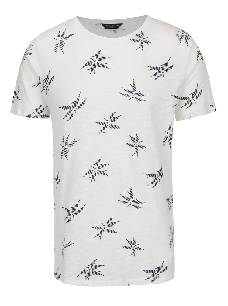 Krémové jemně žíhané vzorované triko Jack & Jones Milton