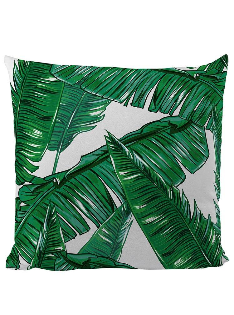 Černo-zelený polštář s motivem listů Butter Kings