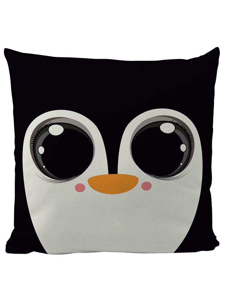 Krémovo-černý polštář s motivem tučňáka Butter Kings