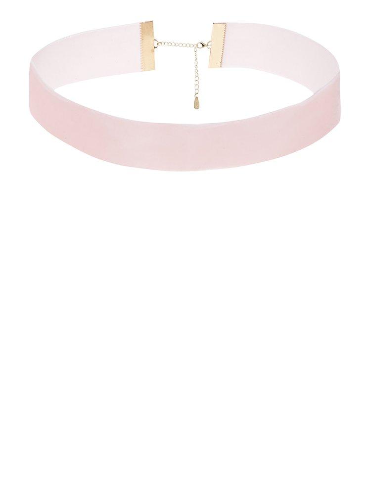 Světle růžový sametový choker TALLY WEiJL