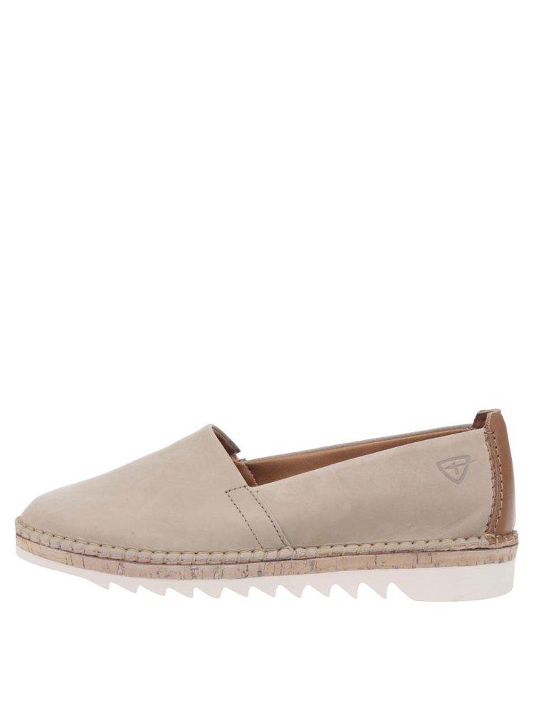 Béžové kožené loafers Tamaris