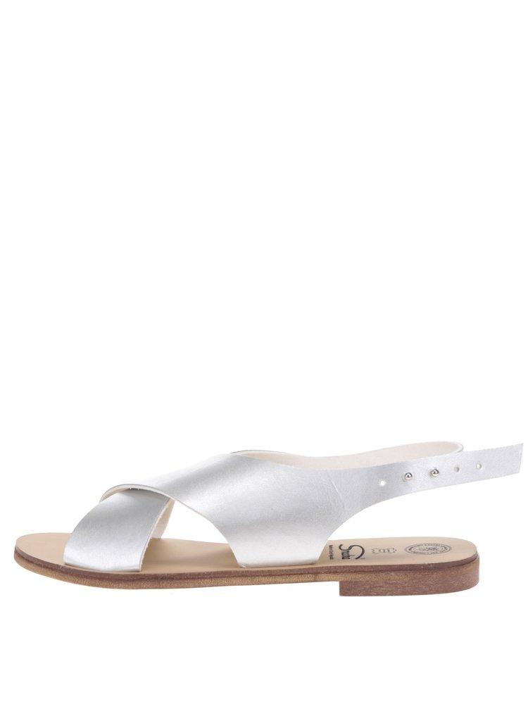Sandale argintii cu barete late Snaha Rio 160