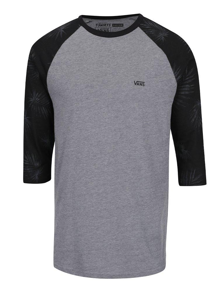 Černo-šedé pánské triko s 3/4 rukávem VANS