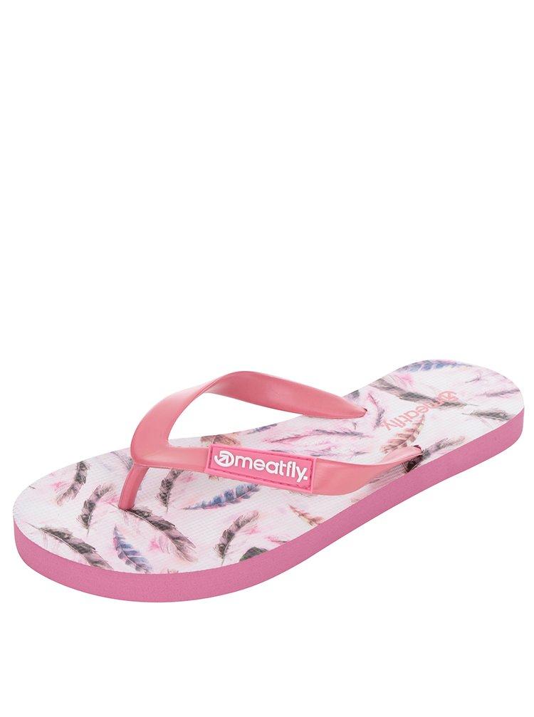 Růžové dámské vzorované žabky MEATFLY Wings
