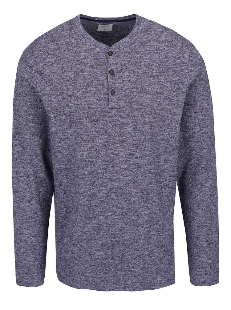 Modré žíhané triko s dlouhým rukávem Burton Menswear London