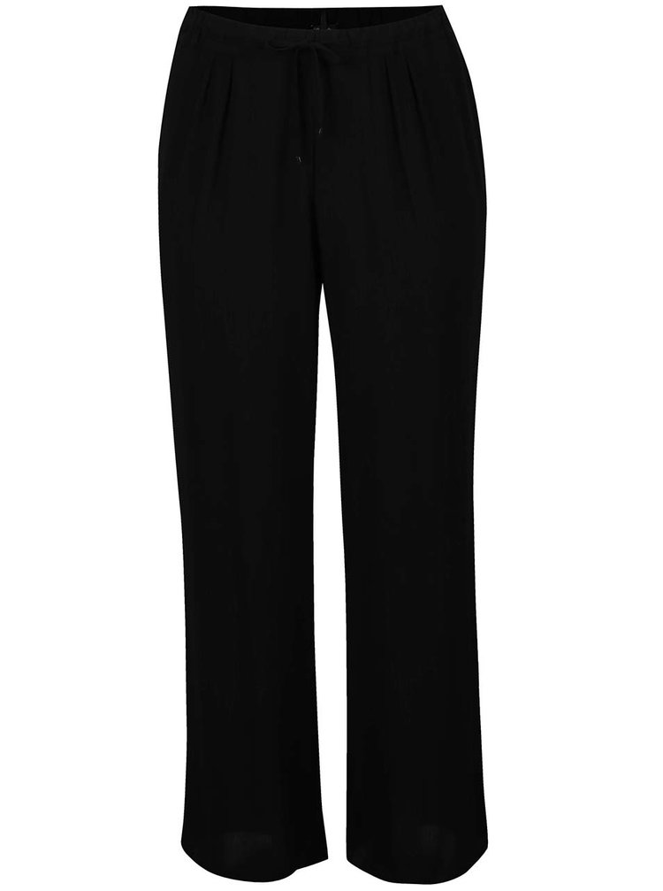 Pantaloni negri Ulla Popken cu șnur în talie