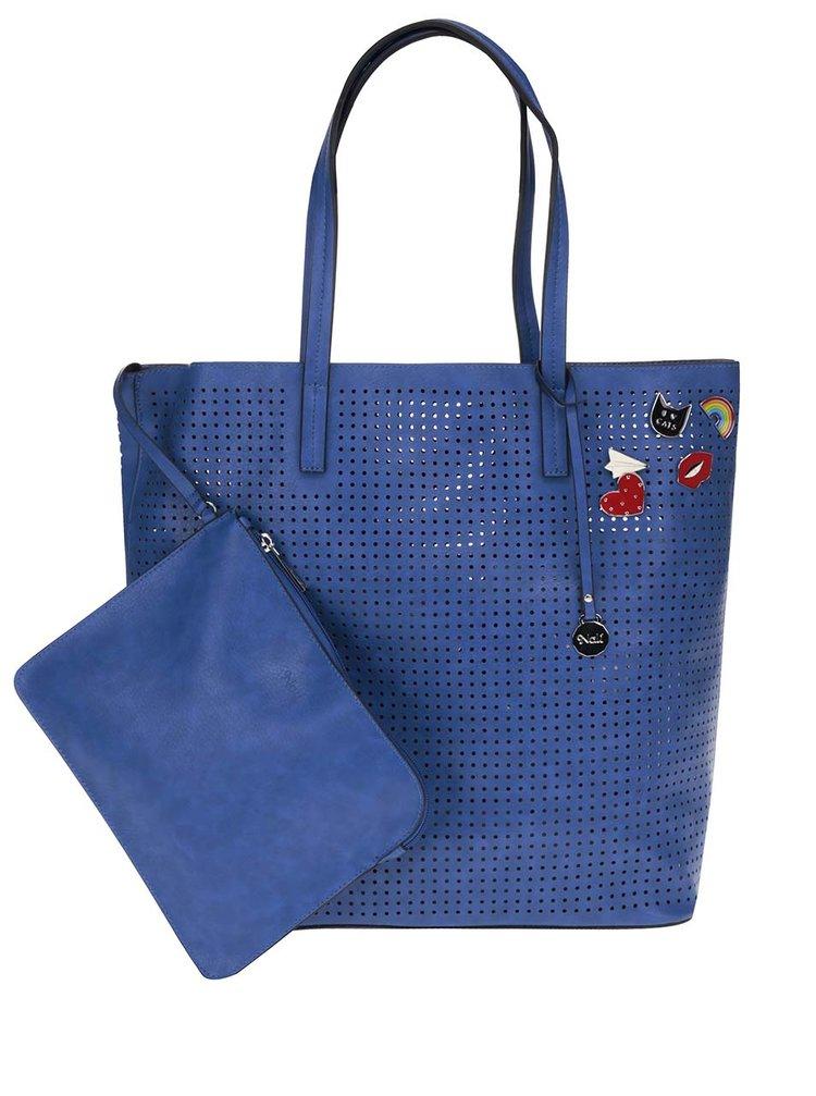 Modrý perforovaný shopper s pouzdrem 2v1 Nalí