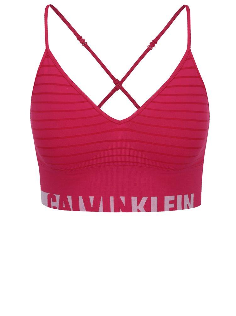 Tmavě růžová pruhovaná sportovní podprsenka Calvin Klein