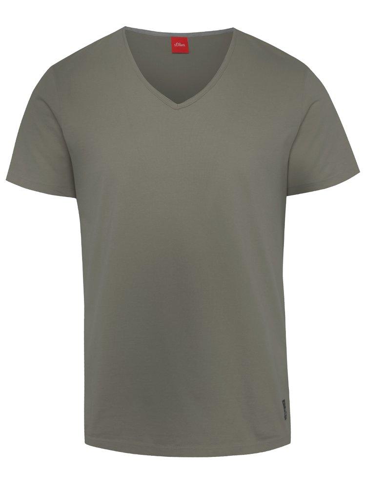 Tmavě zelené pánské triko s véčkovým výstřihem s.Oliver