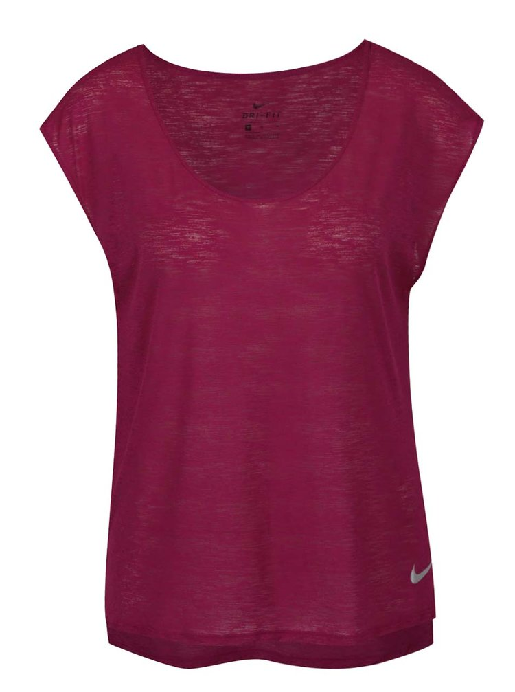 Tricou vișiniu Nike cu tiv asimetric