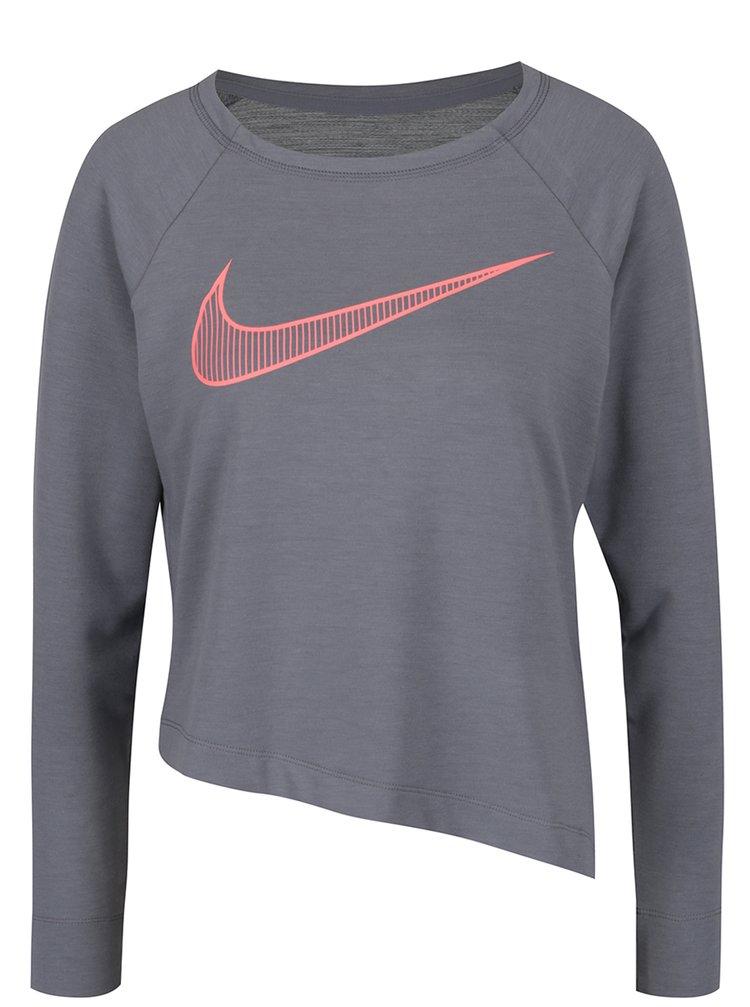 Šedé asymetrické tričko s dlouhým rukávem a potiskem Nike