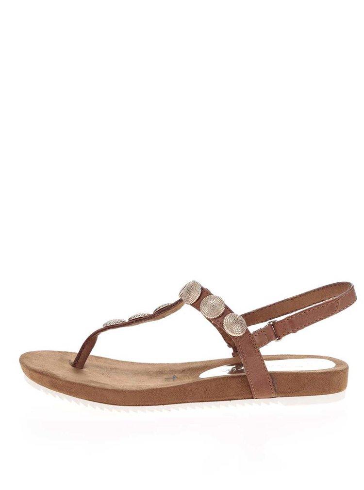 Sandale flip-flop maro Tamaris cu aplicații metalice