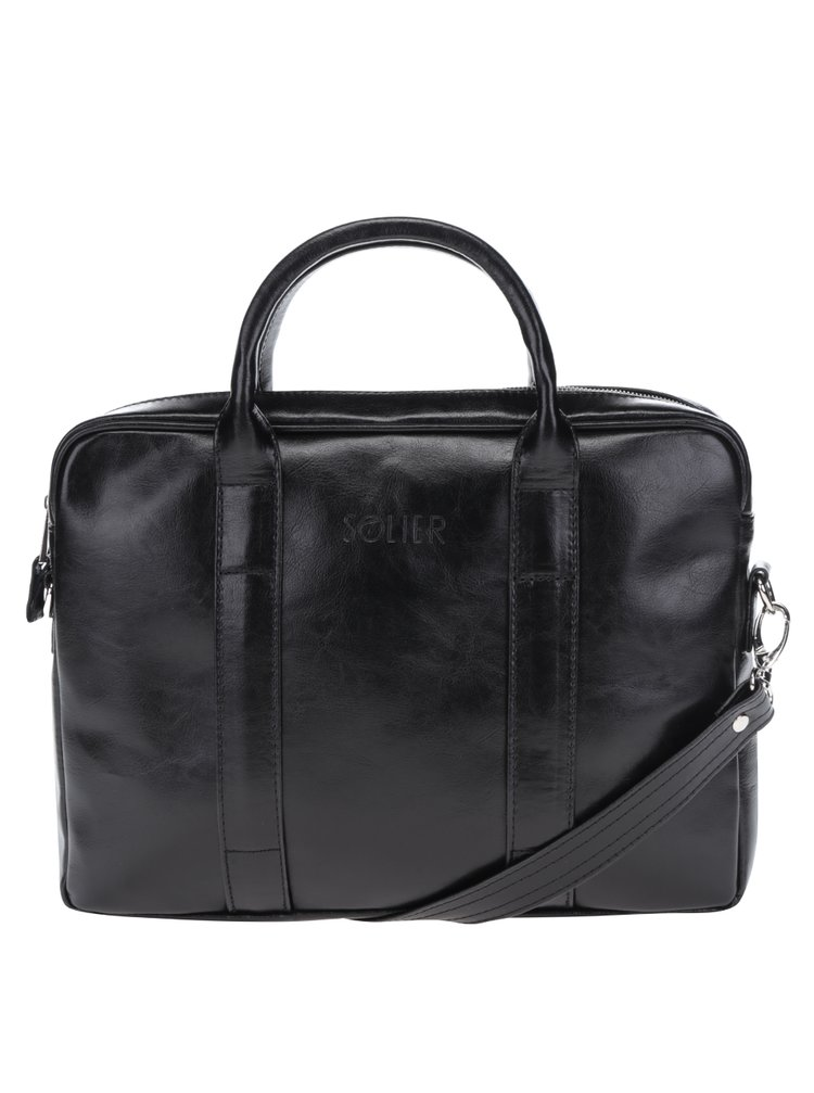 """Černá pánská lesklá kožená taška na notebook Solier 13"""""""