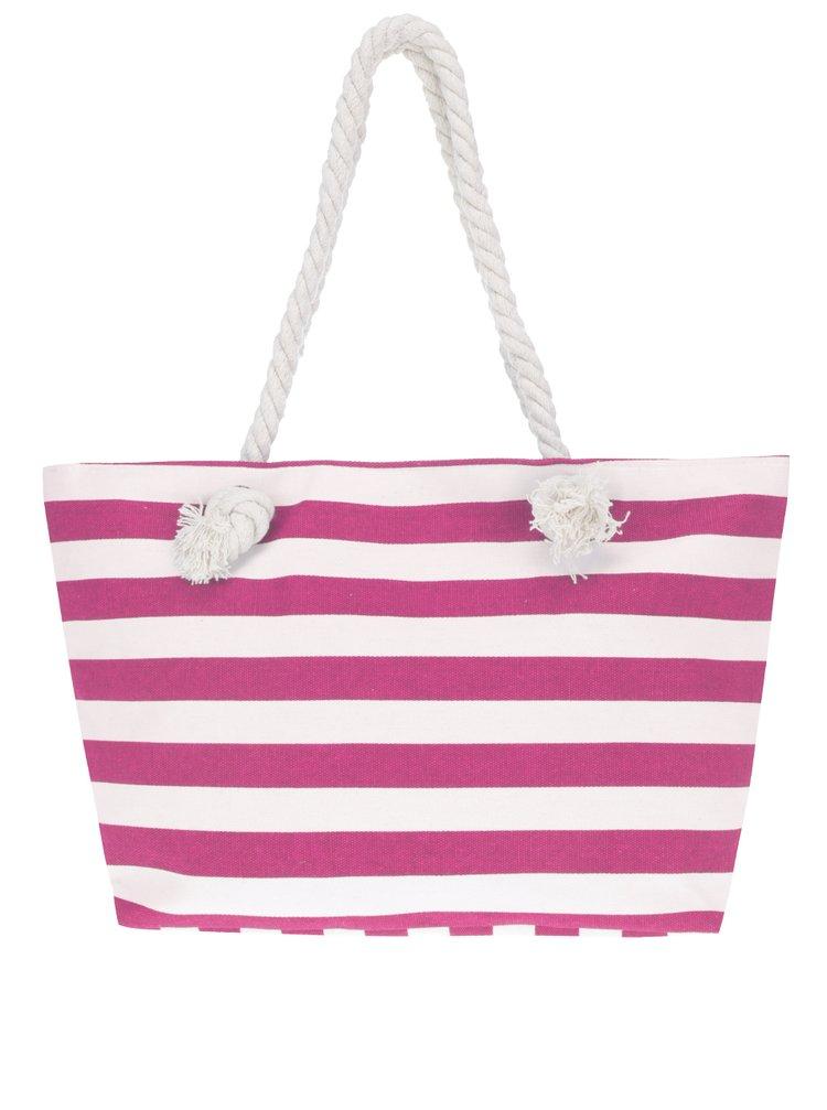 Geantă shopper roz& alb Haily's Stripey cu model în dungi