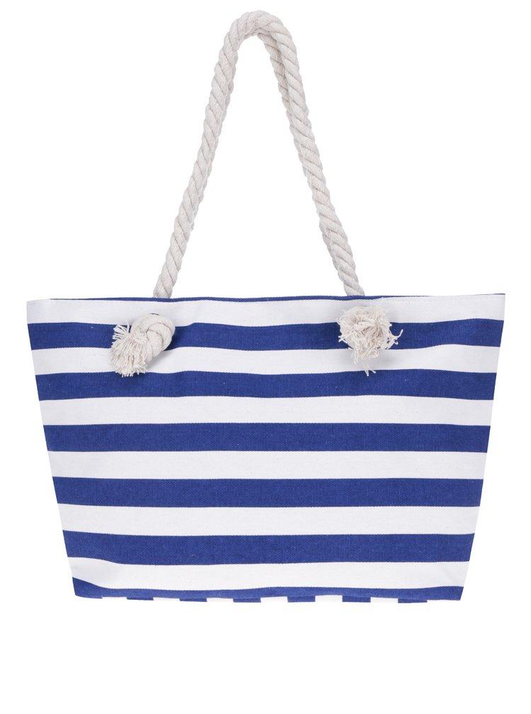 Geantă shopper albastru & alb Haily's Stripey cu model în dungi