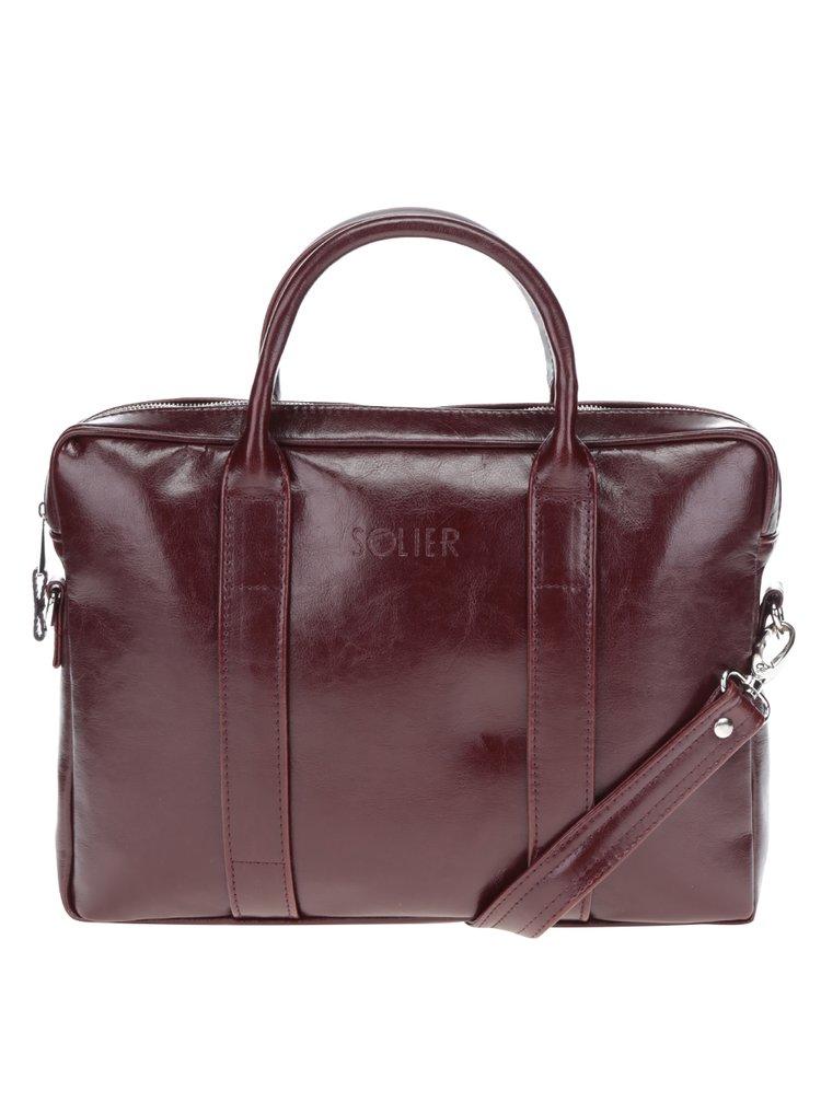 Vínová pánská lesklá kožená taška na notebook Solier