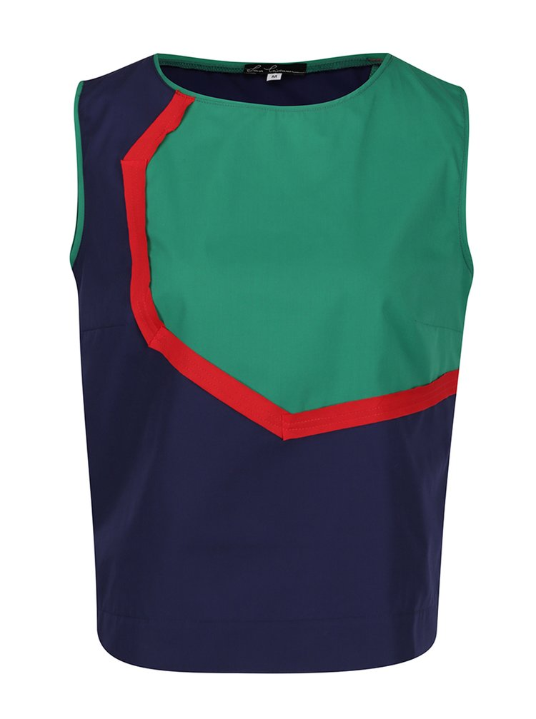 Zeleno-modrá volná halenka bez rukávů Lena Criveanu