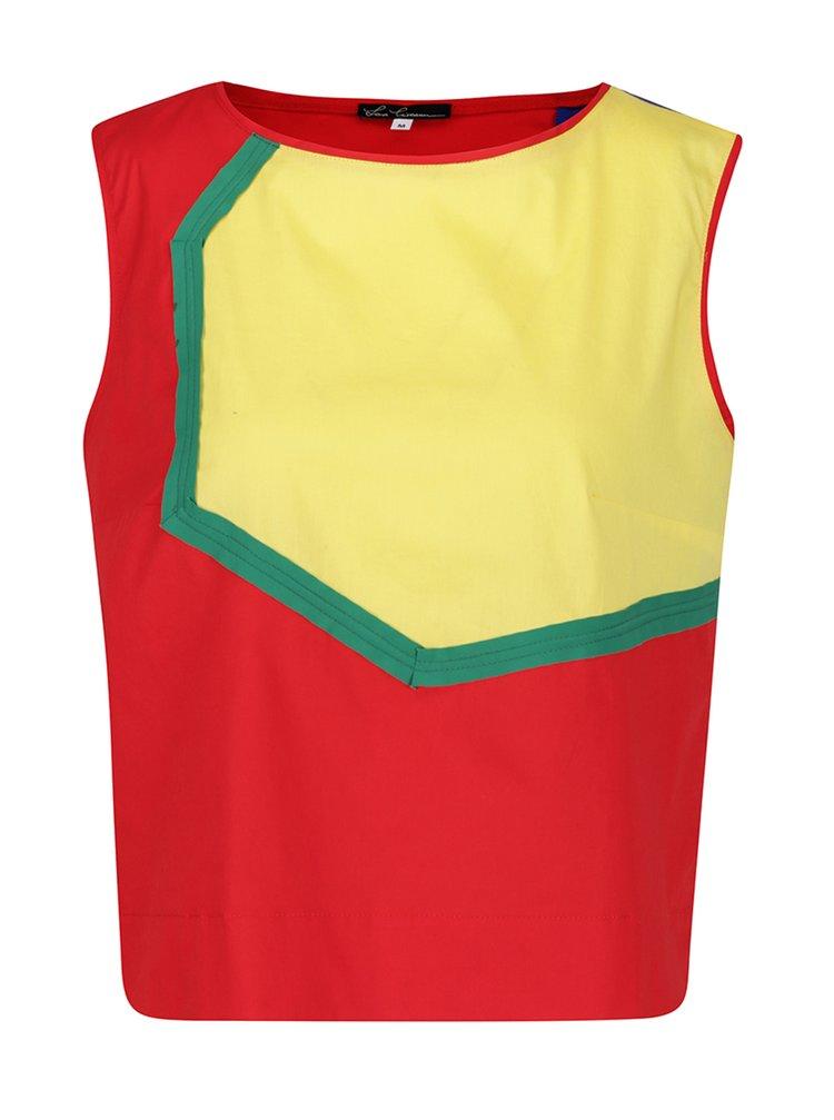 Top roșu cu inserții multicolore geometrice Lena Criveanu