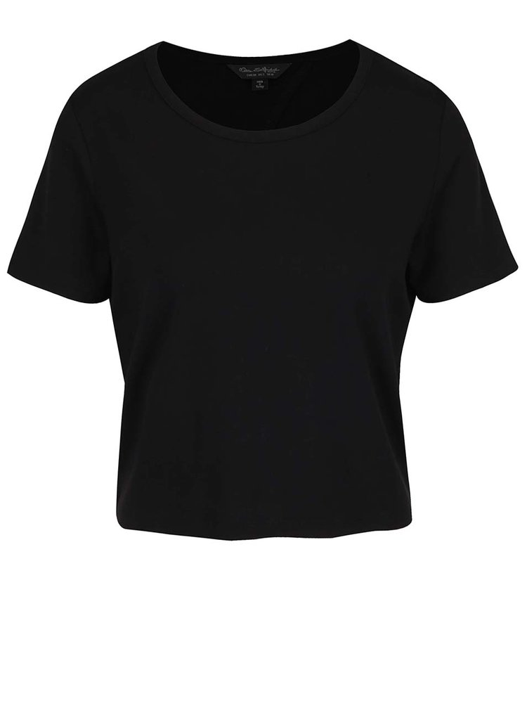 Černé tričko s překládaným zadním dílem a mašlí Miss Selfridge