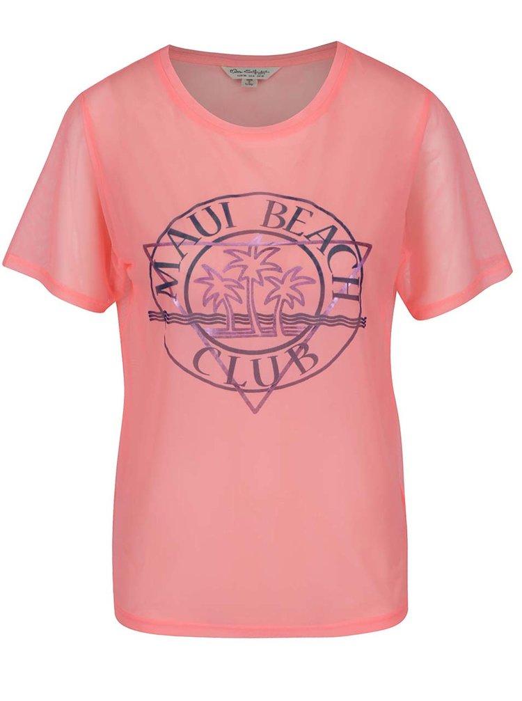 Tricou roz semitransparent din tulle cu print Miss Selfridge