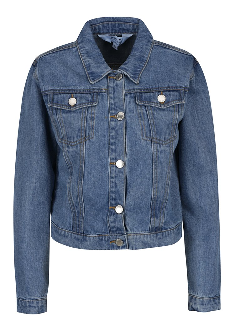 Jachetă albastră crop din denim Miss Selfridge