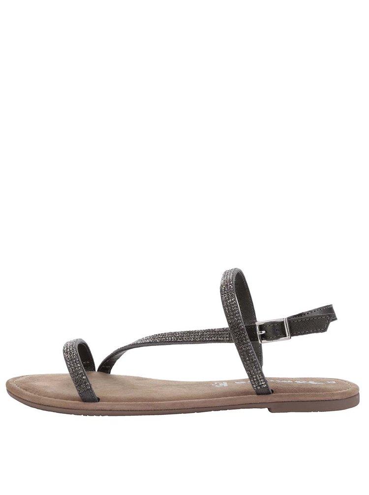 Tmavě šedé kožené sandály s kamínky ve stříbrné barvě Tamaris