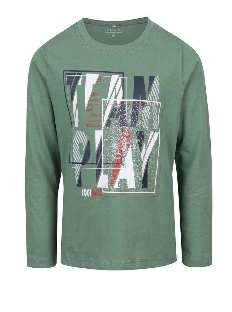 Bluză verde cu print pentru băieți name it Victorhox